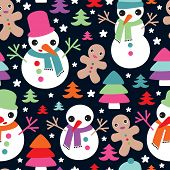 stock photo of ginger man  - Seamless snow man and ginger bread man christmas friends illustration background pattern in vector - JPG