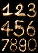 stock photo of zero  - A Sparkler firework light Number alphabet zero to nine - JPG