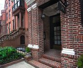 stock photo of brownstone  - Daytime shot of brick entryway in brownstone neighborhood of Brooklyn - JPG