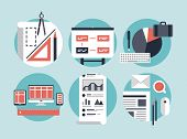 stock photo of sketche  - Flat design vector illustration concept icons set of modern business organization management for planning and development innovation of computer technologies - JPG