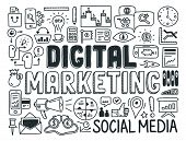 Digital Marketing Doodle Elements Set poster