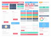 stock photo of e-business  - Flat user interface vector set for website development and mobile application design with lots of colorful stylish icons buttons control elements and forms in modern fresh design style - JPG