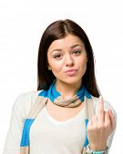 stock photo of obscene  - Portrait of teenager showing obscene gesture - JPG