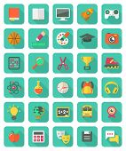 stock photo of math  - Set of 30 flat education and leisure icons with long shadows - JPG