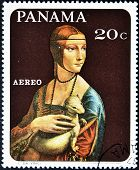 A stamp printed in Panama shows painting of Leonardo da Vinci - Lady with an Ermine