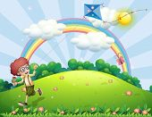 stock photo of hilltop  - Illustration of a boy playing with his kite at the hilltop with a rainbow - JPG