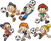 Cartoon soccer kids. Vector clip art illustration with simple gradients. Each element on a separate