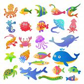 stock photo of seahorses  - Sea fishes and animals collection - JPG