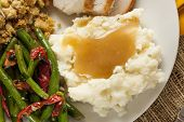 stock photo of mashed potatoes  - Homemade Organic Mashed Potatoes with Gravy for Thanksgiving - JPG