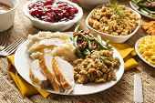 stock photo of poultry  - Homemade Turkey Thanksgiving Dinner with Mashed Potatoes Stuffing and Corn - JPG