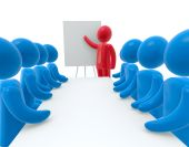 stock photo of training room  - Red person pointing hand at board - JPG