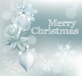 foto of merry chrismas  - Christmas snowflake and decoration background with Merry Christmas message and silver baubles - JPG