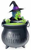 pic of witches cauldron  - An illustration of a cartoon witch looking over her cauldron with a Happy Halloween message on it - JPG