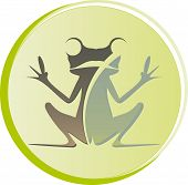 picture of tadpole  - logo frog sitting with open hands on a green background - JPG
