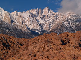 stock photo of mt whitney  - Mt Whitney taken in the Alabama Hills near Lone Pine CA - JPG