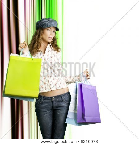 Young Beautiful Women With Her Shopping Bags