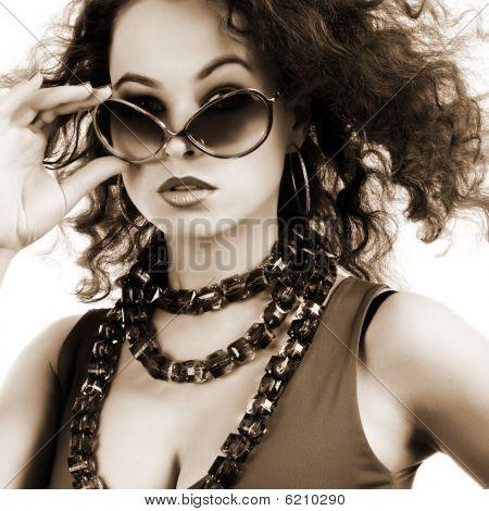 Beautiful Woman With Sunglasses.