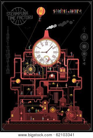 Steam punk style - time factory ( night )