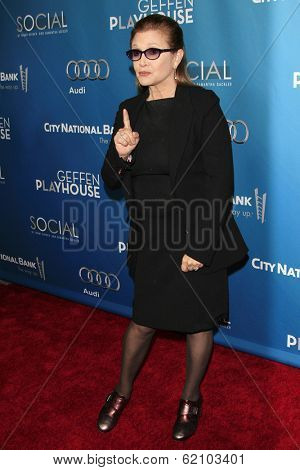 LOS ANGELES - MAR 22: Carrie Fisher at the Geffen Playhouse's Annual 'Backstage At The Geffen' Gala at Geffen Playhouse on March 22, 2014 in Los Angeles, California
