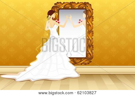 illustration of bride grooming in front of mirror