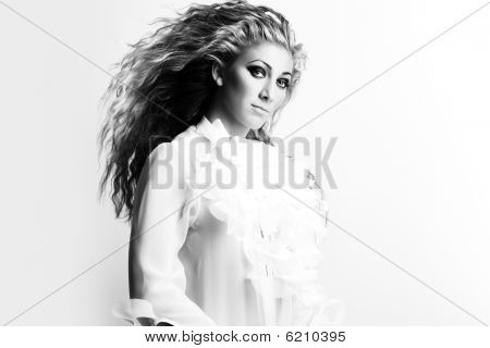 Beautiful Young Sexy Woman With Luxurious Hair