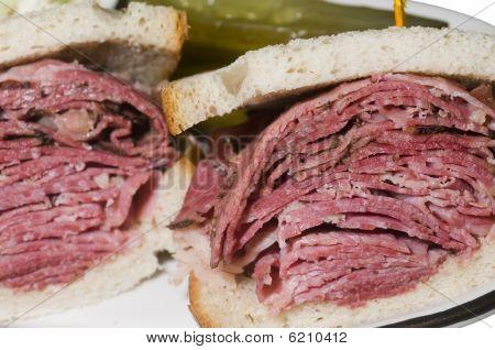 Corned Beef Pastrami Combination Sandwich Rye Bread Pickles