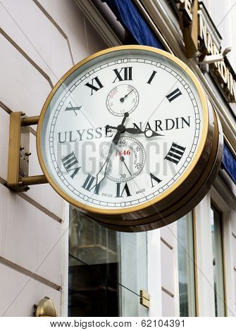 MOSCOW - MARCH 23, 2014: Ulysse Nardin wall clocks. Ulysse Nardin is a watch manufacturer founded in 1846, in Le Locle, Switzerland.