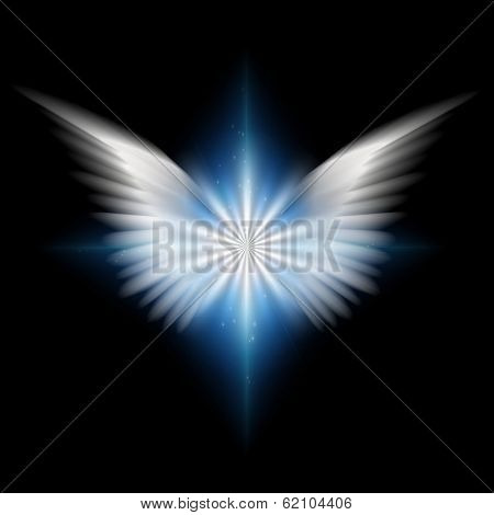 White wings and radiating light