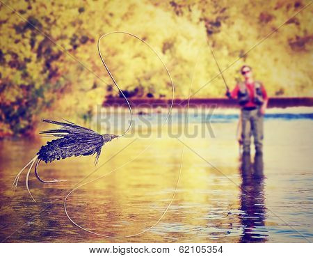 a person fly fishing with a big fly in front done with a soft vintage instagram like filter