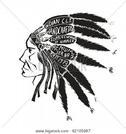 illustration  Indian chief wearing traditional headdress