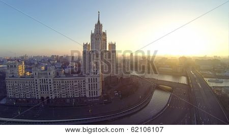 Building on Kotelnicheskaya Embankment at evening in Moscow, Russia. It is one of seven Stalin skyscrapers. View from unmanned quadrocopter