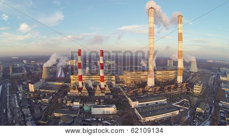 Territory of power plant at winter. View from unmanned quadrocopter
