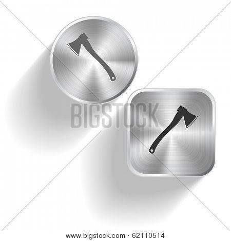 Axe. Vector set steel buttons