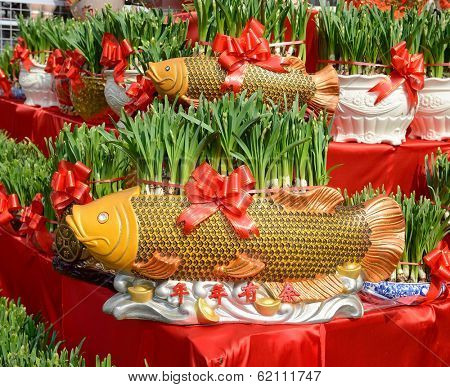 narcissus blooming in shape of golden fish,traditional chinese calligraphy art means good luck