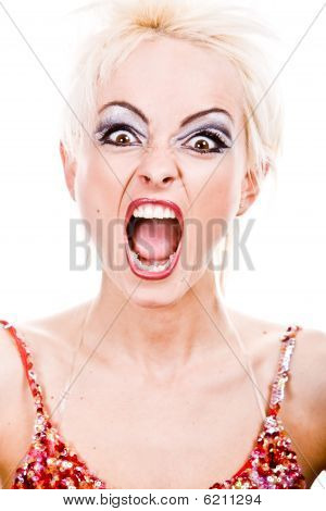 Screaming Furious Blond Woman