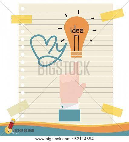 Hand with light bulb, vector illustration.