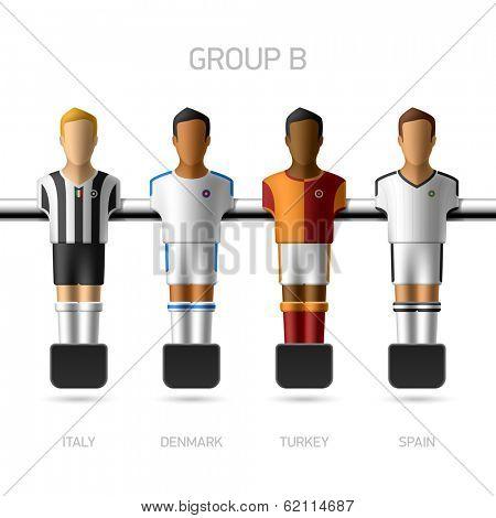 Table football, foosball players. Group B - Italy, Denmark, Turkey, Spain. Vector.