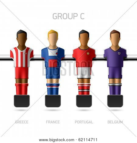 Table football, foosball players. Group C - Greece, France, Portugal, Belgium. Vector.