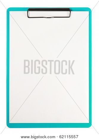 Green clip board isolated on white.