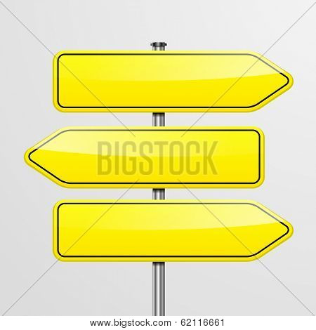 detailed illustration of a roadsign with three empty pointers, eps10 vector