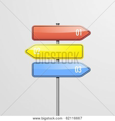 detailed illustration of a roadsign infographic template with three choices, eps10 vector