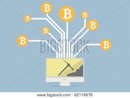 minimalistic illustration of a monitor displaying bitcoin mining, eps10 vector