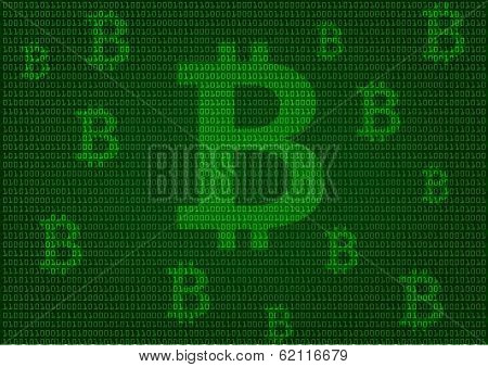 background illustration of binary numbers with bitcoin symbols, concept for bitcoin mining, eps10 vector