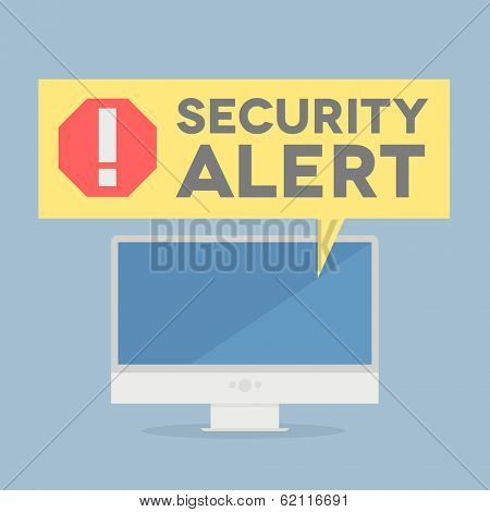 minimalistic illustration of a monitor with a security alert speech bubble, eps10 vector