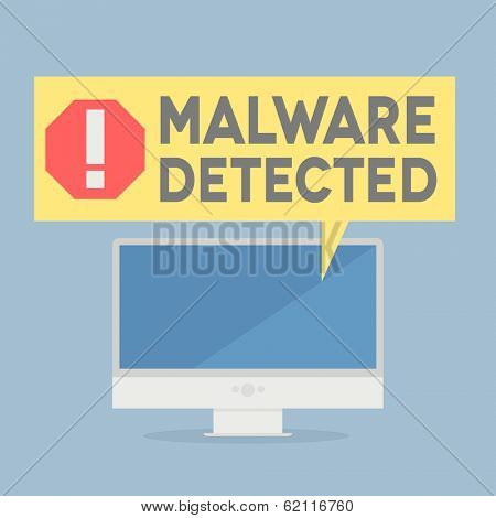 minimalistic illustration of a monitor with a malware alert speech bubble, eps10 vector