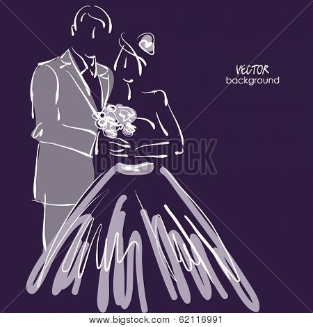 art sketched beautiful young bride and groom with the bride's bouquet on dark back. Vector background with space for text.