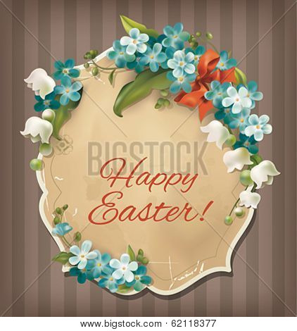 Easter vintage card with flowers. Vector eps 10.