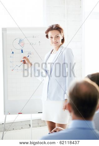 business concept - businesswoman pointing at graph on flip board in office