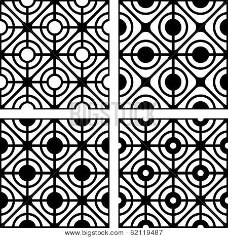 Lattice patterns set. Seamless geometric textures. Vector art.