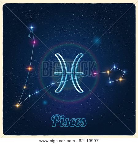 Vector constellation Pisces with Zodiac sign